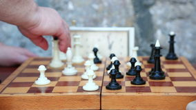 Playing chess game stock footage