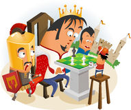 Playing Chess with King Stock Image