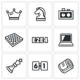Playing chess and modern technology icons set. Vector Illustration. Vector  Flat Icons collection on a white background for design Stock Photos