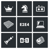 Playing chess and modern technology icons set. Vector Illustration. Vector Isolated Flat Icons collection on a black background for design Royalty Free Stock Photos
