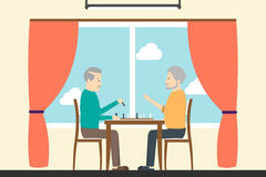 Playing chess in nursing home. Seniors royalty free illustration