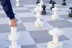 Playing chess outdoors stock photo