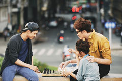 Playing Chess Outdoors Royalty Free Stock Photo