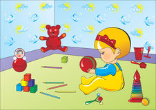 Child. Vector drawing depicting a child playing with toys in the playroom Stock Images