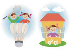 Playing_children. Two illustrations of playing children. Vector  illustration Stock Image