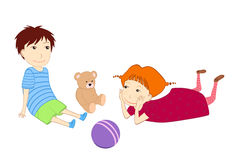 Playing children. Illustration of playing children; boy and girl Royalty Free Stock Images