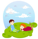 Playing children. Illustration of playing children; boy and girl Royalty Free Stock Photos