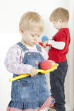Playing children. Two children playing with balls Royalty Free Stock Photos