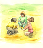Playing children. Illustration, baby with toy Stock Images