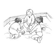 Playing children. Illustration, black and white sketch Royalty Free Stock Photography