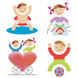 Playing_children. Four illustrations of playing children. Vector  illustration Royalty Free Stock Photo