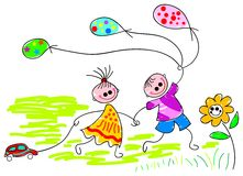 Playing children with baloons Royalty Free Stock Photo