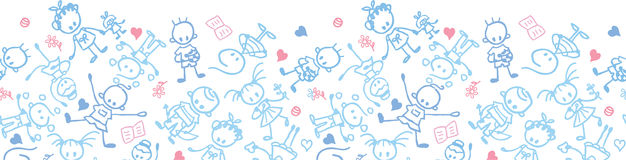 Playing children horizontal seamless pattern Stock Photos