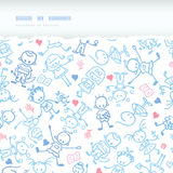 Playing children horizontal torn seamless pattern background Royalty Free Stock Photos