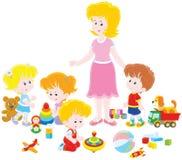 Playing children and kindergarten teacher royalty free illustration