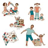 Playing children, parent and toys Royalty Free Stock Image