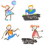 Playing children. Set of  illustrations of playing children Royalty Free Stock Photos