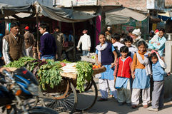Playing children on the street of India. Unidentified children have fun on the crowed indian street at the sunny day in Lucknow, India. Lucknow in Uttar Pradesh Royalty Free Stock Image