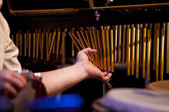 Playing chimes. Close up with a percussionist playing chimes Stock Images