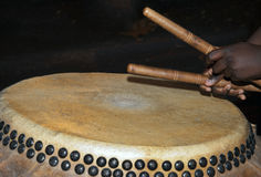 Playing the Chinese Drum Stock Photo