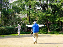 Playing Chinese YoYo. An old man playing diabolo inside Fuxing Park in winter in Shanghai China Stock Photography