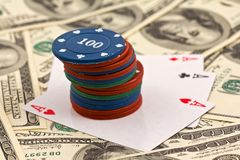 Playing chips and cards Stock Images