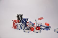 Playing chips and dice royalty free stock photography