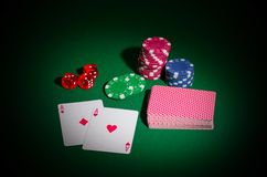 Playing chips dices and cards Royalty Free Stock Image