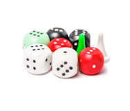 Playing chips and dices isolated on white background Stock Images