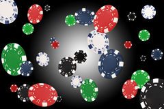 Playing chips flying. At the white-black background Royalty Free Stock Photo