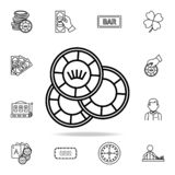 playing chips icon. Detailed outline set of casino element icons. Premium graphic design. One of the collection icons for websites vector illustration