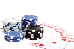 Playing chips and poker card Royalty Free Stock Photo