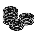 Playing chips. The settlement coin in the casino.Kasino single icon in black style vector symbol stock illustration. Royalty Free Stock Image