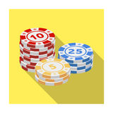 Playing chips. The settlement coin in the casino.Kasino single icon in flat style vector symbol stock illustration. Royalty Free Stock Photos