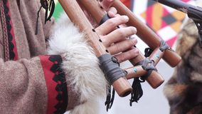 Chukchi musical instrument stock footage