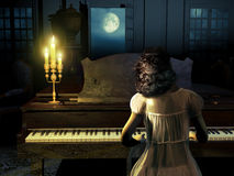 Playing Clair De Lune. Woman with her nightgown, playing music on a piano at night, in front of the doors of her house, through which we see the Moon Royalty Free Stock Image