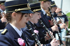 Playing the clarinet Stock Images