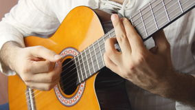 Playing classic spanish guitar stock video footage