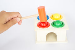 Playing colorful hammer case wooden toy Stock Photography