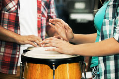 Playing congas. Close up. stock images