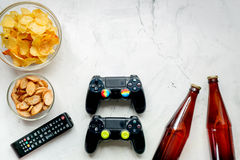 Playing console concept with chips on white background top view mock up Royalty Free Stock Images