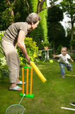 Playing cricket. stock photo
