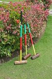 Traditional croquet mallets. Playing croquet at the The English Tea House and Restaurant in Sandakan, Borneo, Malaysia Royalty Free Stock Image