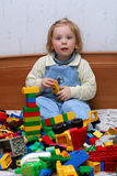 Playing with cube blocks Stock Photo