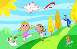 Playing with dad. Two sisters and a dog are playing with a kite, but the tired father is panting behind! Digital humorous illustration Royalty Free Stock Photography