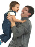 Playing dad and son. Playing father and son looking at each other Stock Photos