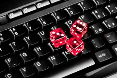 Playing dice on computer keyboard Stock Image
