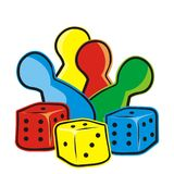 Playing dice and figurines, ludo, vector icon. Royalty Free Stock Images