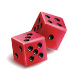 Playing Dice Vector Set. Realistic 3D Illustration Of Two Red Dice With Shadow. Game Dice Set Stock Photos