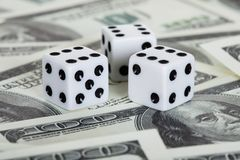 Playing dices and american dollars Stock Photo